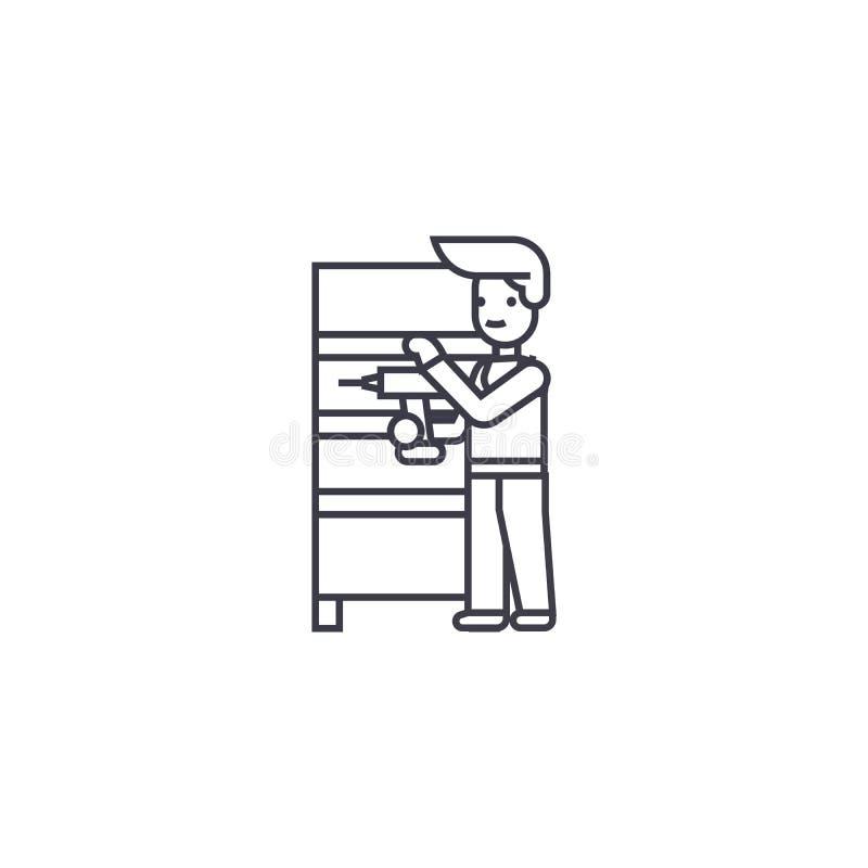Линия значок вектора собрания мебели, знак, иллюстрация на предпосылке, editable ходах бесплатная иллюстрация