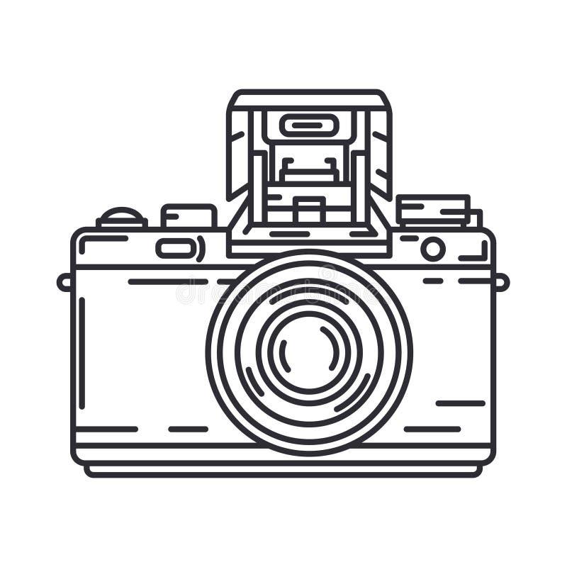 Линия значок вектора с камерой цифрового slr профессиональной Искусство фотографии Photocamera Megapixel r иллюстрация вектора