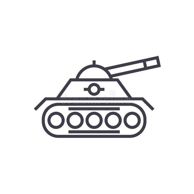 Линия значок вектора танка войны, знак, иллюстрация на предпосылке, editable ходах иллюстрация вектора