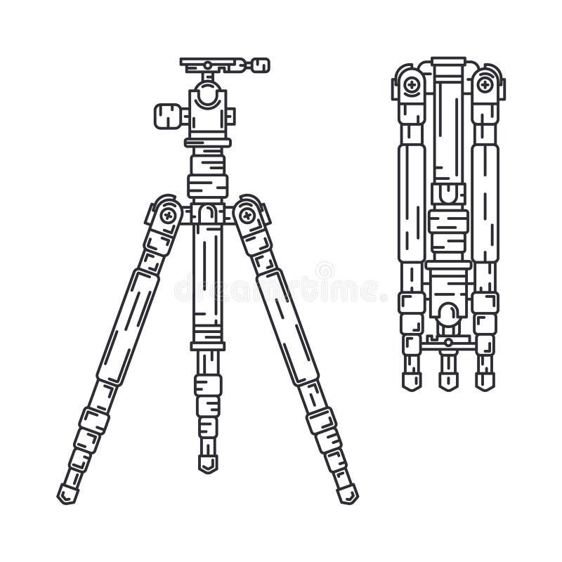 Линия значок вектора установила оборудование цифрового фотографа профессиональное Искусство фотографии Компакт фотокамеры precast иллюстрация вектора