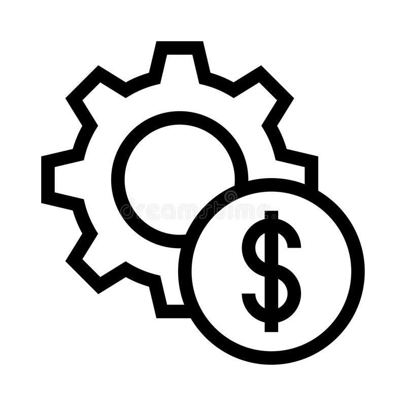 Линия значок вектора установки доллара бесплатная иллюстрация