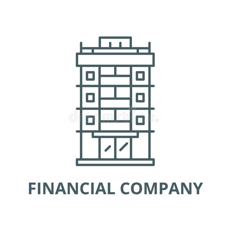 Линия значок вектора финансовой компании, линейная концепция, знак плана, символ бесплатная иллюстрация