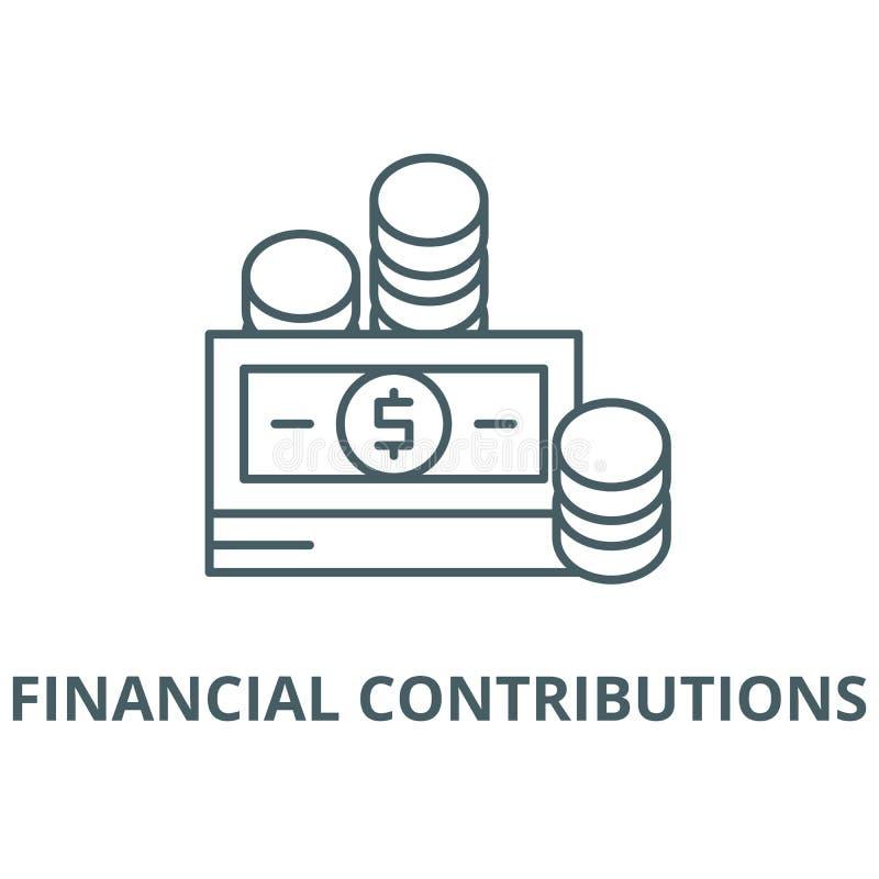 Линия значок вектора финансовых взносов, линейная концепция, знак плана, символ бесплатная иллюстрация