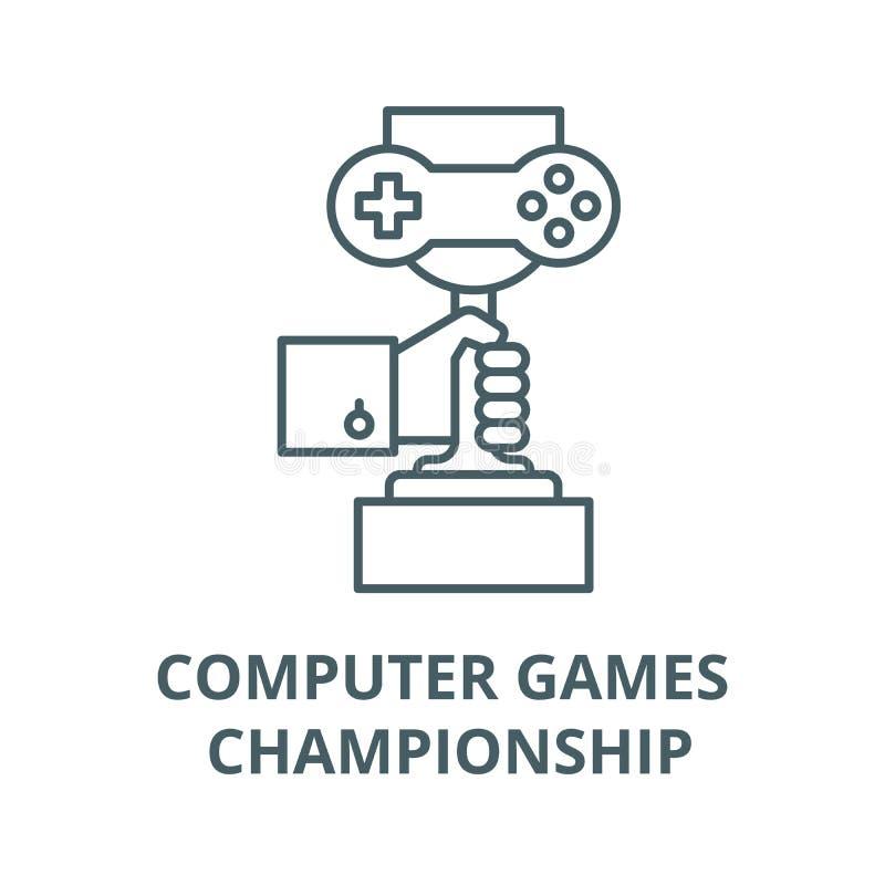 Линия значок вектора чемпионата компютерных игр, линейная концепция, знак плана, символ бесплатная иллюстрация