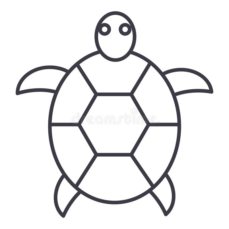 Линия значок вектора черепахи, знак, иллюстрация на предпосылке, editable ходах иллюстрация вектора