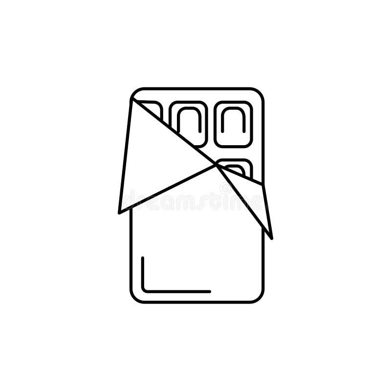 Линия значок вектора шоколада, знак, иллюстрация на предпосылке, editable ходах иллюстрация вектора