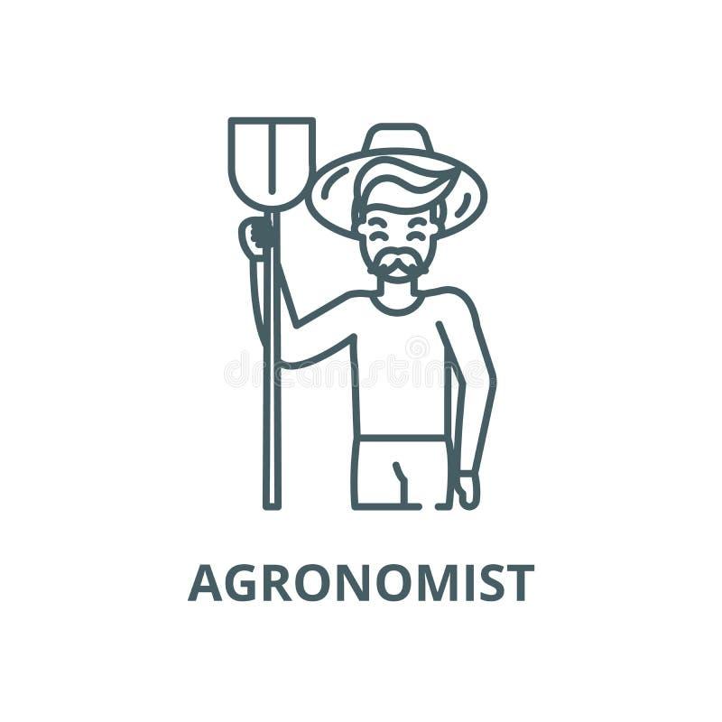 Линия значок вектора Agronomist, концепция плана, линейный знак бесплатная иллюстрация