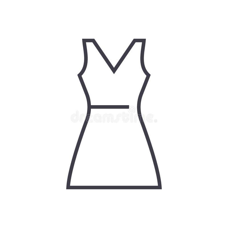 Линия значок вектора Sundress, знак, иллюстрация на предпосылке, editable ходах бесплатная иллюстрация