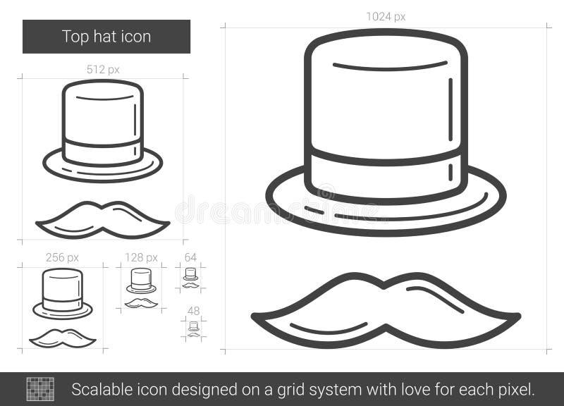 Линия значок верхней шляпы бесплатная иллюстрация