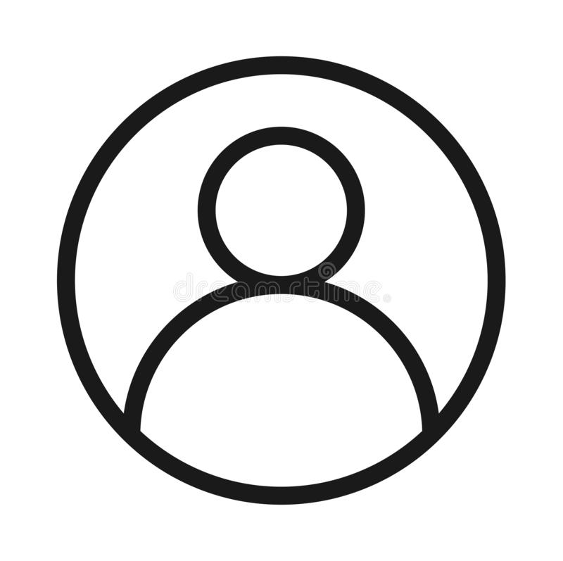 Линия значок воплощения профиля пользователя твердая черная иллюстрация вектора