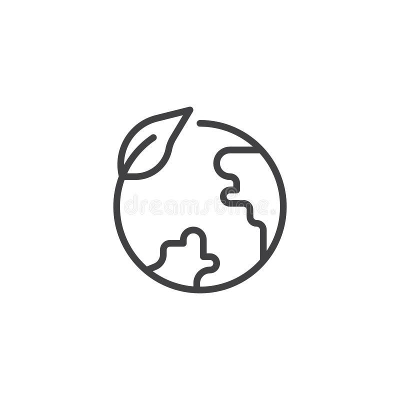 Линия значок глобуса Eco бесплатная иллюстрация