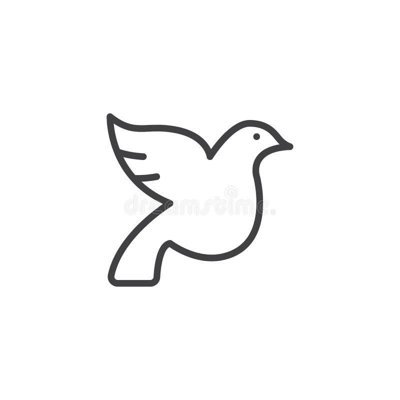 Линия значок голубя свадьбы бесплатная иллюстрация