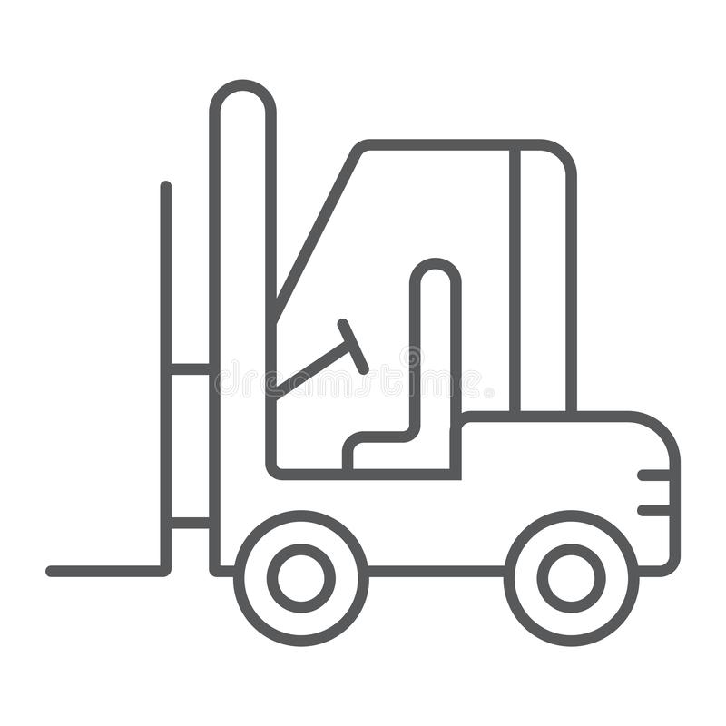 Линия значок грузоподъемника тонкая, автомобиль и груз, знак тележки, векторные графики, линейная картина на белой предпосылке иллюстрация вектора