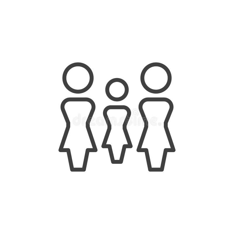 Линия значок группы 3 женщин иллюстрация штока