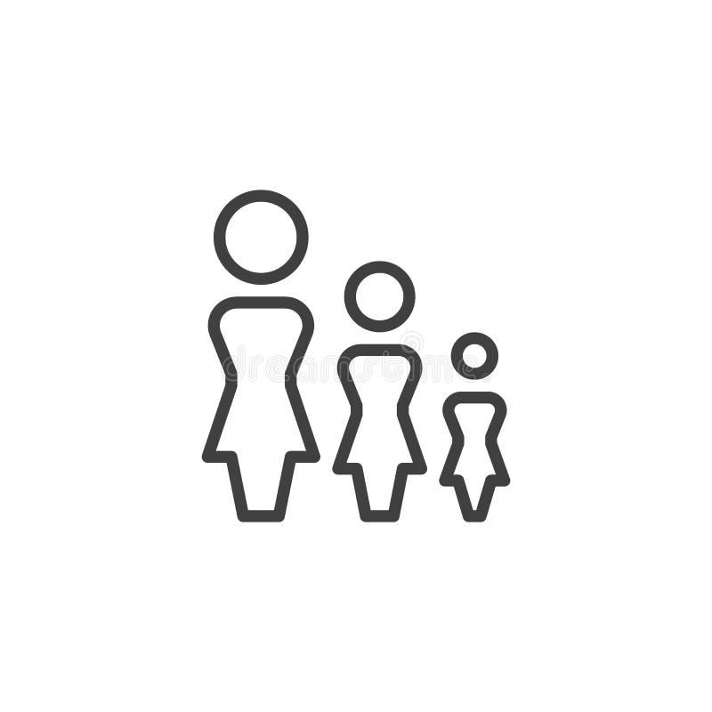 Линия значок группы женщин бесплатная иллюстрация