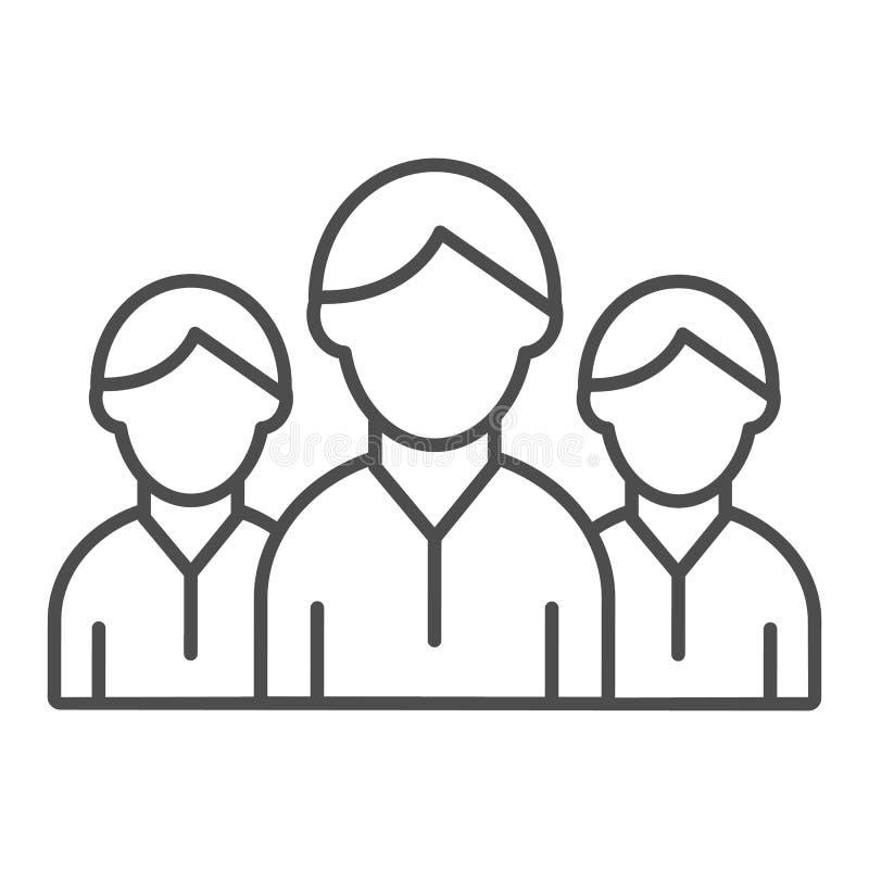 Линия значок группы людей тонкая Иллюстрация вектора команды изолированная на белизне Конструированный дизайн стиля плана социаль иллюстрация штока