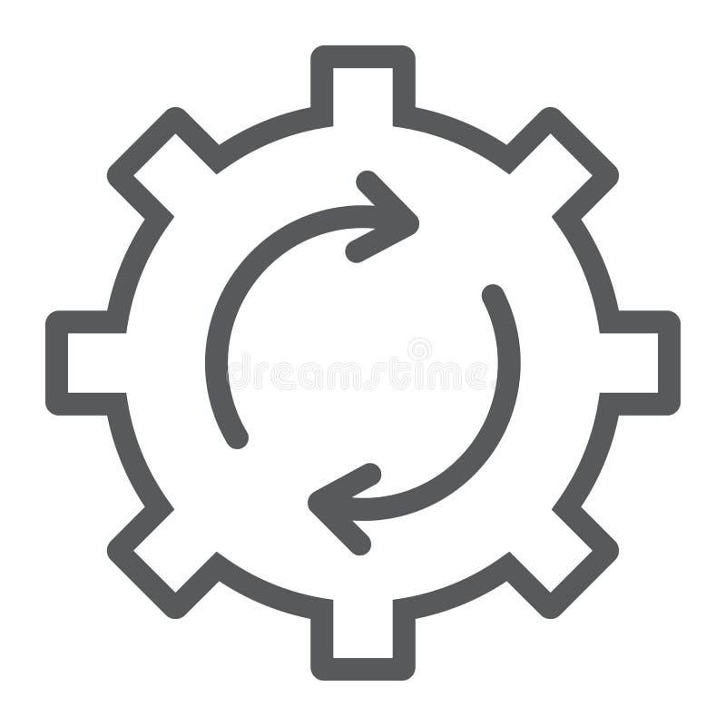 Линия значок, данные и аналитик обновления системы иллюстрация штока