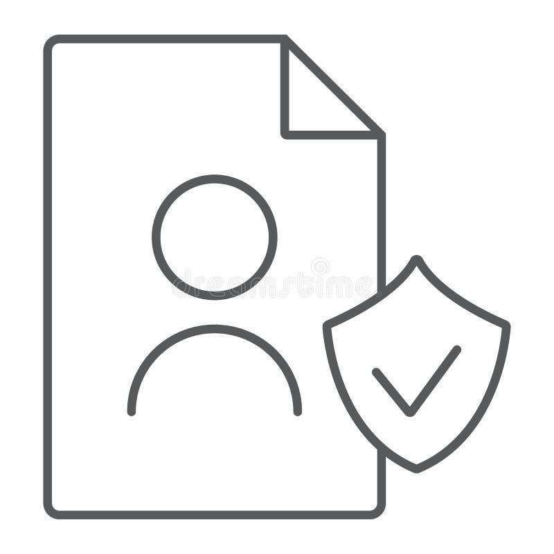 Линия значок данным по personall Gdpr тонкая, частный и gdpr, знак документа, ве иллюстрация штока