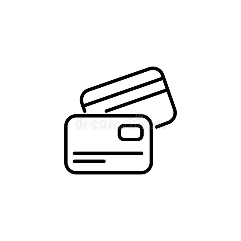 Линия значок Дело; Кредитная карточка иллюстрация вектора