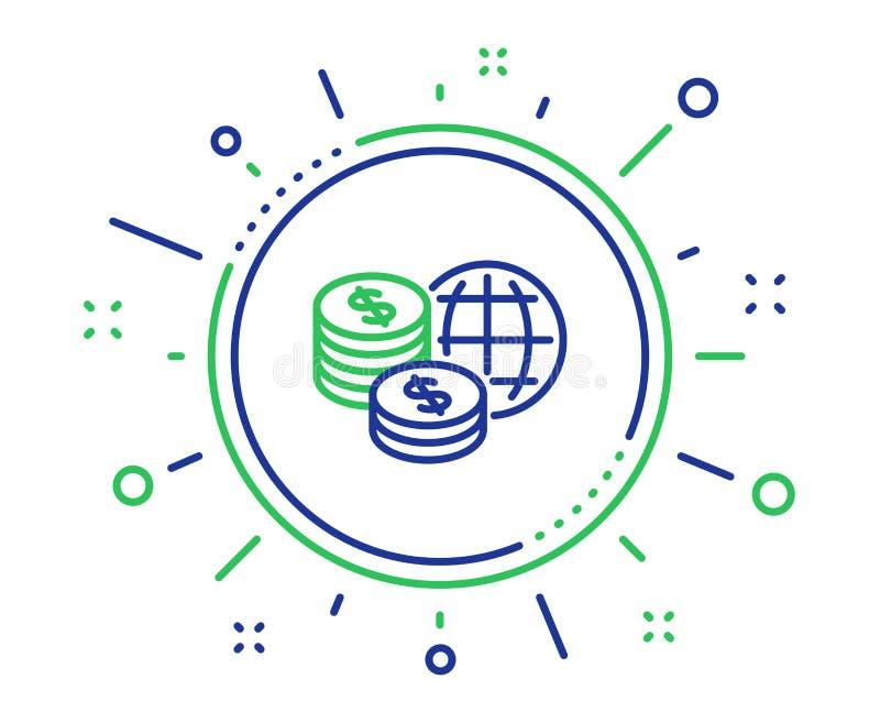 Линия значок денег мира Мировые рынки подписывают r иллюстрация штока