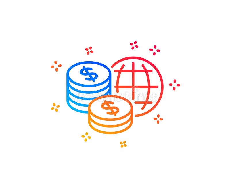 Линия значок денег мира Мировые рынки подписывают r иллюстрация вектора