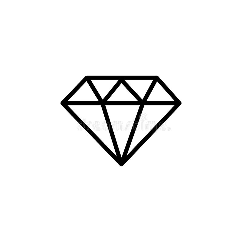 Линия значок диаманта стоковое изображение