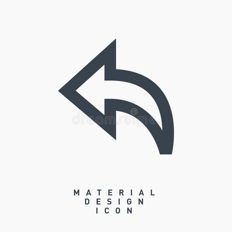 Линия значок дизайна стрелки задняя материальная вектора иллюстрация штока
