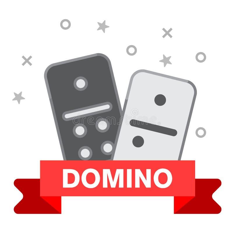 Линия значок домино Конспектируйте иллюстрацию значка вектора домино для сети изолированного на белой предпосылке иллюстрация вектора