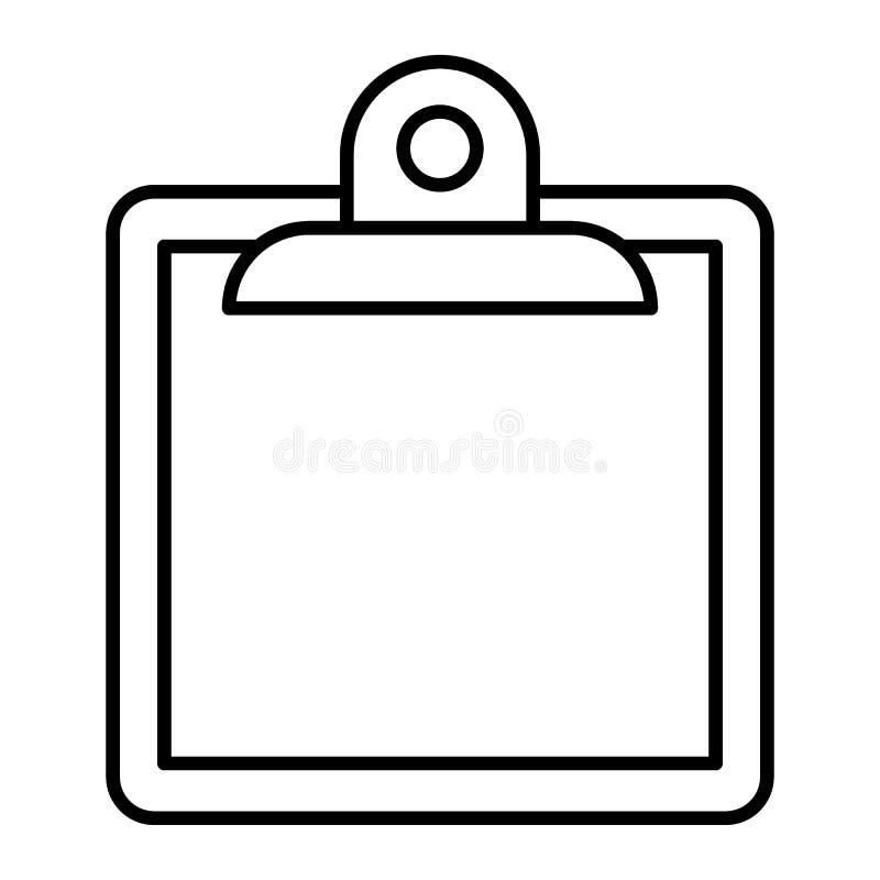 Линия значок доски сзажимом для бумаги тонкая Заметьте иллюстрацию вектора изолированную на белизне Дизайн стиля плана доски, кон бесплатная иллюстрация