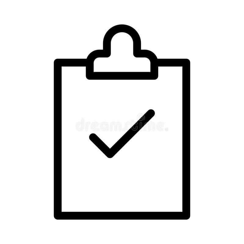 Линия значок доски сзажимом для бумаги тонкая иллюстрация штока
