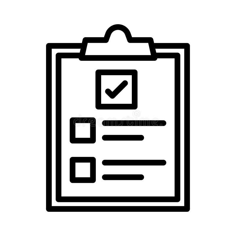 Линия линия значок доски сзажимом для бумаги тонкая иллюстрация вектора