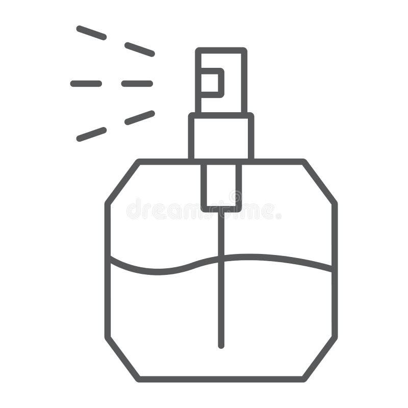 Линия значок духов тонкая, благоухание и косметика, знак ароматности, векторные графики, линейная картина на белой предпосылке иллюстрация вектора