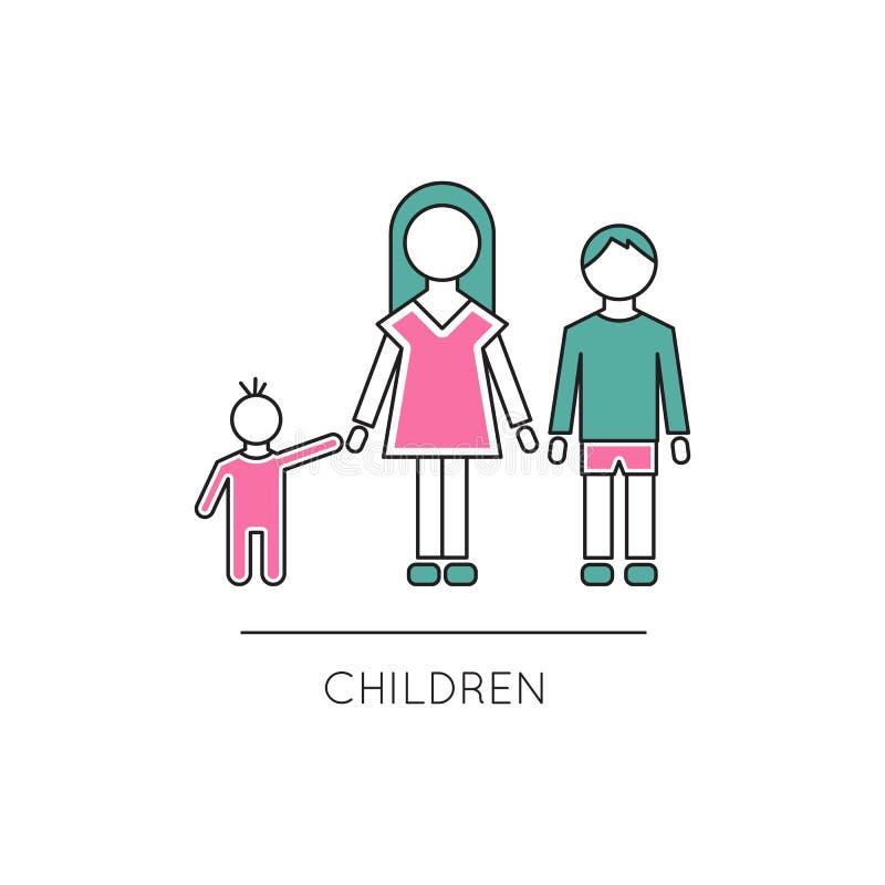 Линия значок детей иллюстрация штока