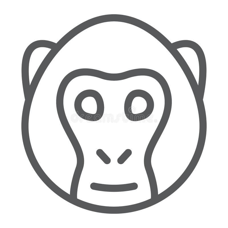 Линия значок, животное и зоопарк обезьяны бесплатная иллюстрация