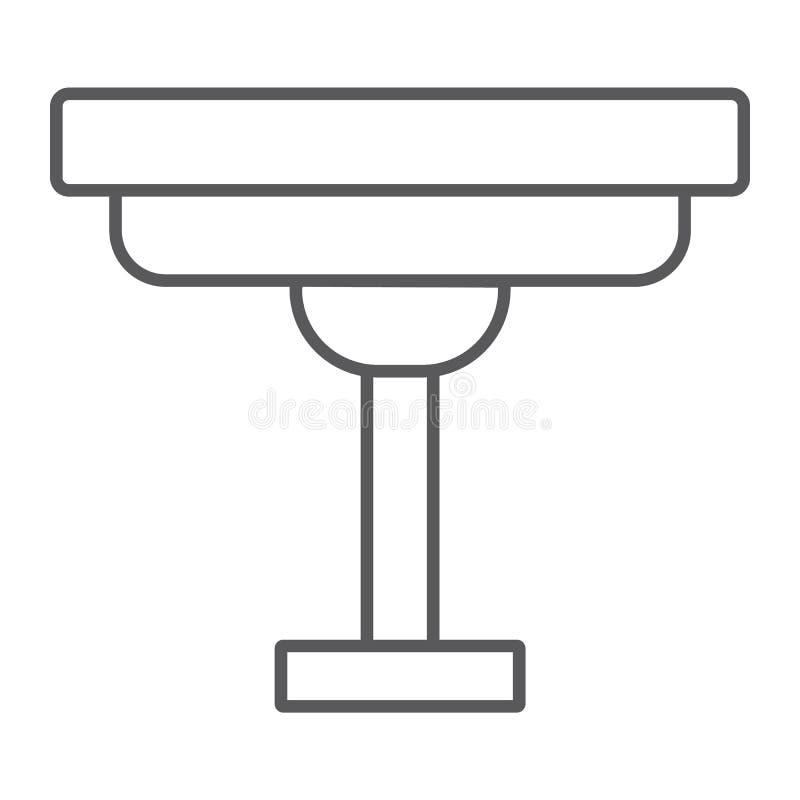 Линия значок журнального стола тонкая, дом и мебель, знак стола, векторные графики, линейная картина на белой предпосылке иллюстрация вектора