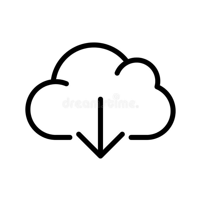 Линия значок загрузки облака вычисляя иллюстрация вектора