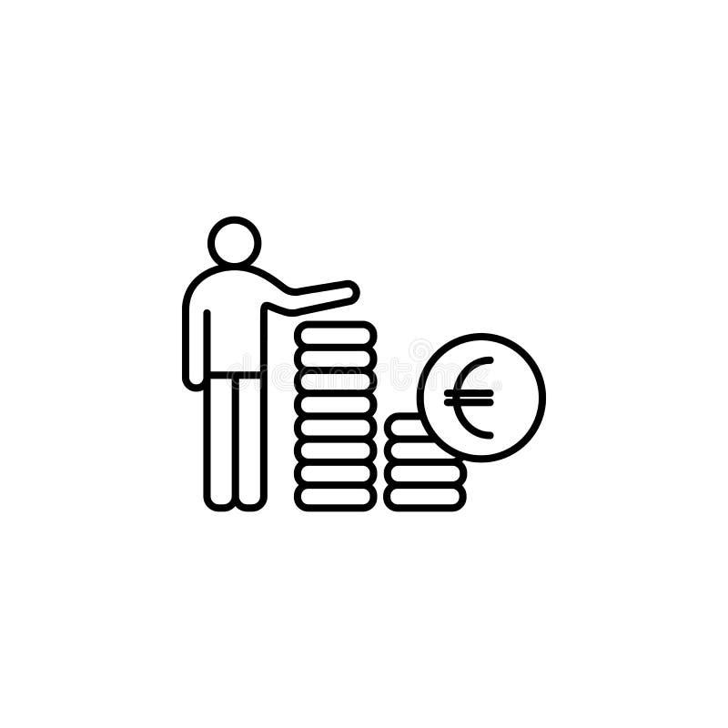 линия значок зарплаты работника Элемент головного значка звероловства для передвижных apps концепции и сети Тонкая линия значок з иллюстрация штока