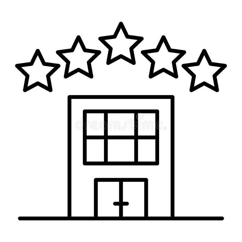 Линия значок звезды гостиницы 5 тонкая Иллюстрация вектора архитектуры изолированная на белизне Дизайн стиля плана квартиры иллюстрация штока