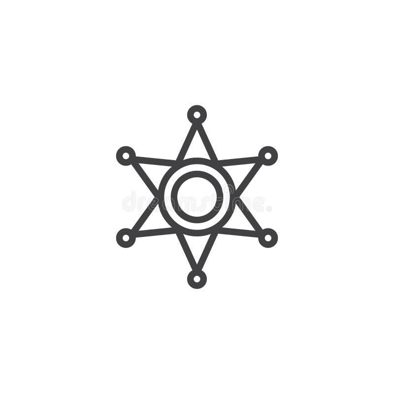 Линия значок звезды шерифа иллюстрация вектора
