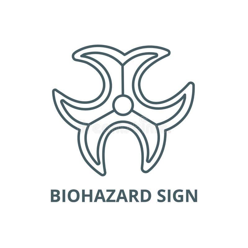 Линия значок знака Biohazard, вектор Знак плана знака Biohazard, символ концепции, плоская иллюстрация бесплатная иллюстрация