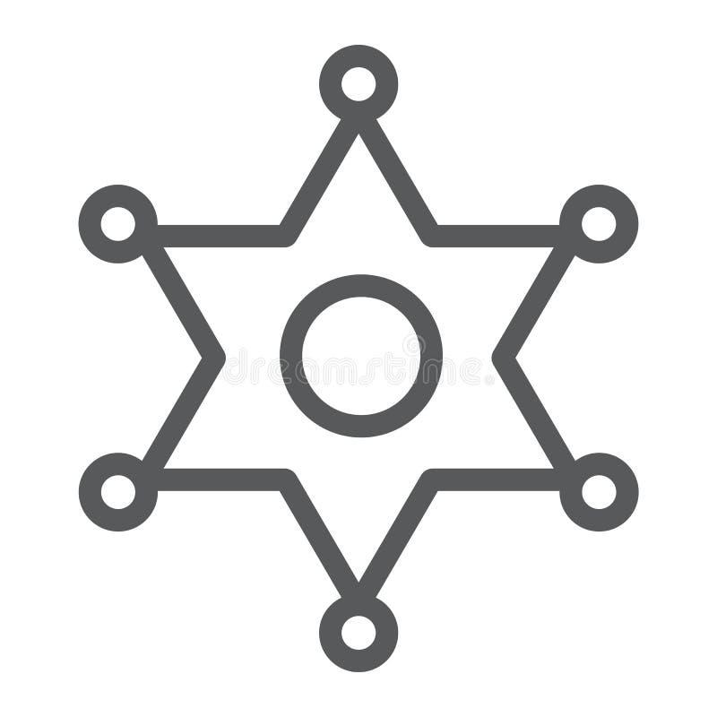 Линия значок значка шерифа, закон и офицер, знак значка полиции, векторные графики, линейная картина на белой предпосылке бесплатная иллюстрация