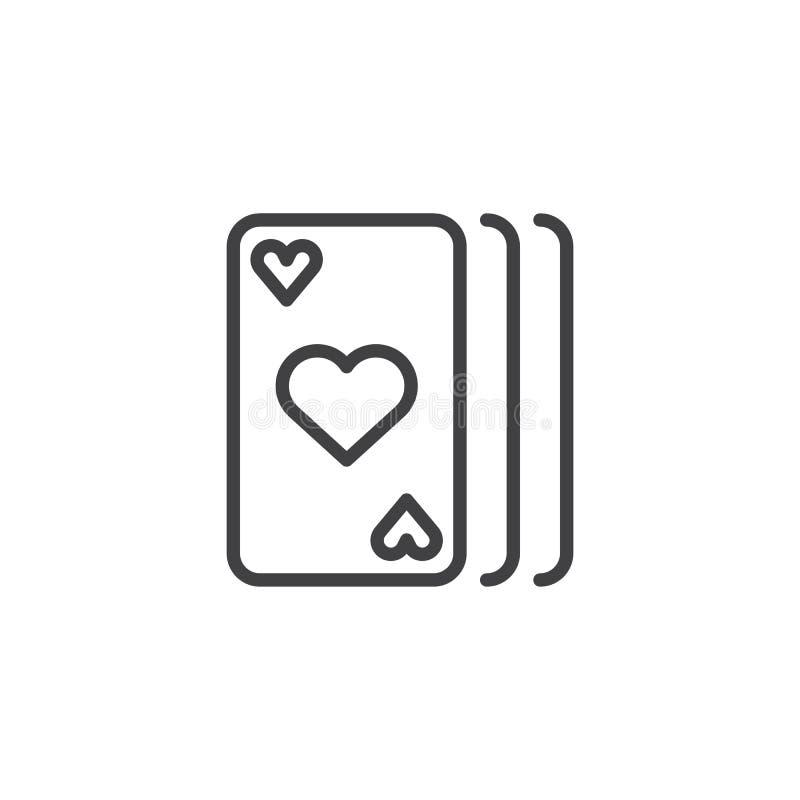 Линия значок играя карточек иллюстрация штока
