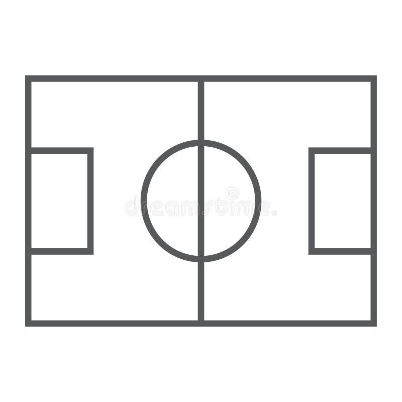 Линия значок, игра и спорт футбольного поля тонкая, иллюстрация штока