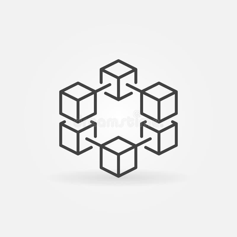 Линия значок или логотип вектора Blockchain концепции иллюстрация вектора