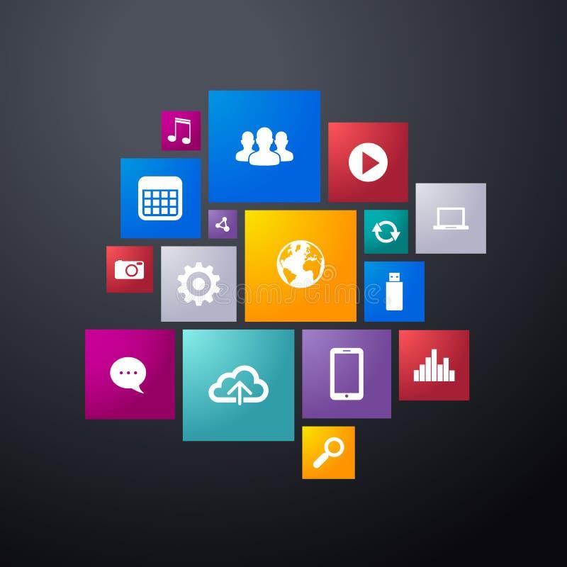 Линия значок интерфейса иллюстрации вектора плоская app дизайна установила для навигации бесплатная иллюстрация