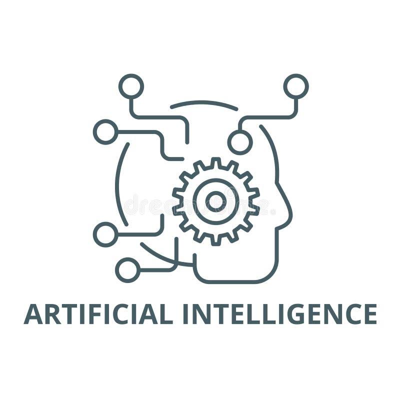 Линия значок искусственного интеллекта, вектор Знак плана искусственного интеллекта, символ концепции, плоская иллюстрация бесплатная иллюстрация