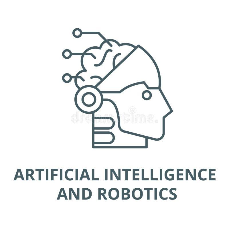 Линия значок искусственного интеллекта и вектора робототехники, линейная концепция, знак плана, символ иллюстрация вектора