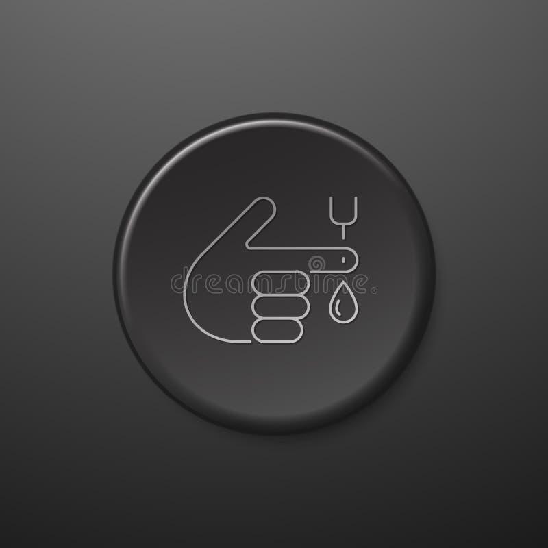 Линия значок испытания содержания глюкозы в крови Черная кнопка бесплатная иллюстрация