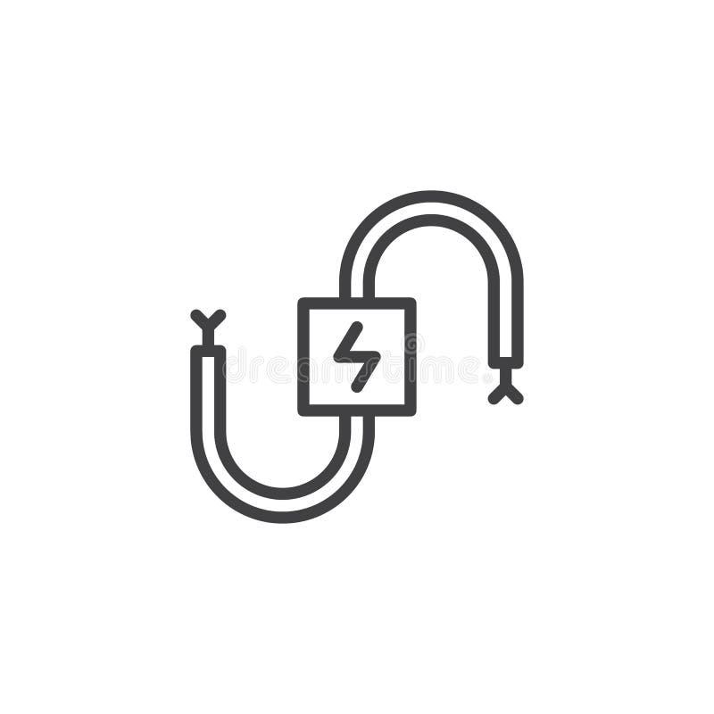 Линия значок кабельной проводки электрическая иллюстрация вектора