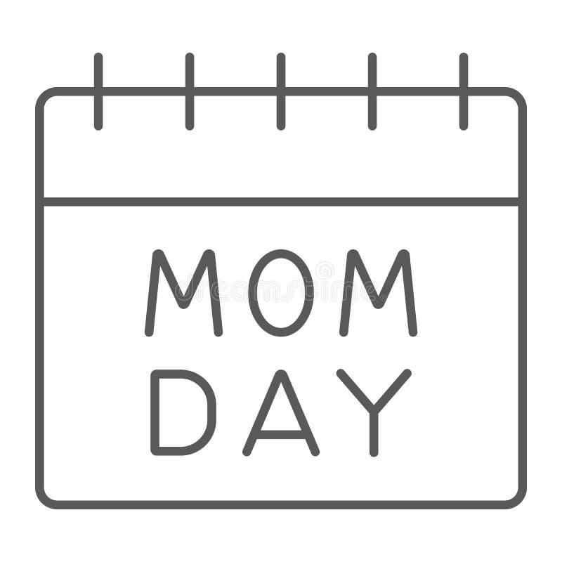 Линия значок календаря дня матерей тонкая, дата и праздник, знак дня мамы, векторные графики, линейная картина на белом иллюстрация вектора